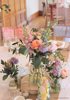 Pastel jam jar flowers and rustic styling, Elizabeth Weddings