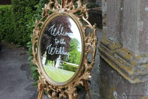 Gold mirror signage, Elizabeth Weddings