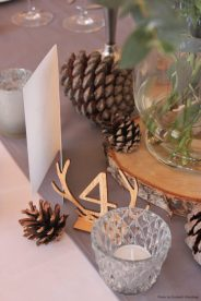 Grey Table runners and pine cones, styling by Elizabeth Weddings