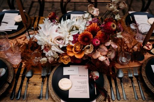 Elizabeth Weddings , Luxury bohemian decor and styling , rust , caramel and black