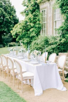 Hamswell House table styling in dusty blue, Elizabeth Weddings
